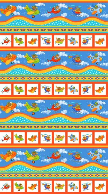 Baby Zoom: Flying High - Border Print by Julie Dobson Miner for Northcott