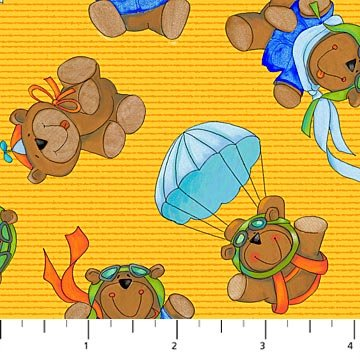 Baby Zoom: Flying High - Bear Toss on Yellow by Julie Dobson Miner for Northcott