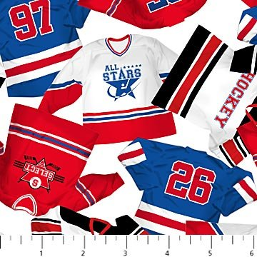 Power Play - Jerseys on White by Deborah Edwards for Northcott
