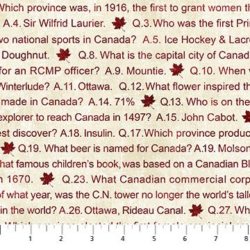 Canadian Sesquicentennial - Trivia in Red on Natural by Deborah Edwards for Northcott