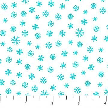 Best Tree on the Lot - Snowflakes in Aqua on White by Ingrid Slyder for Northcott