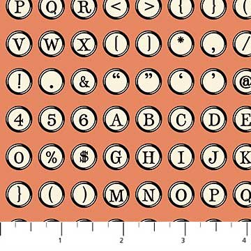 Letterpress - Typewriter Keys on Coral by Deborah Edwards for Northcott
