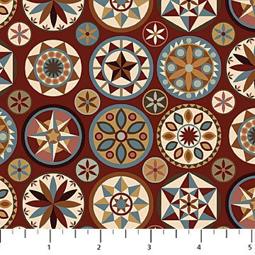 Heritage Quilting - Compass Print in Red by Kim Norlien for Northcott