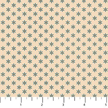 Heritage Quilting - Stars in Blue on Cream by Kim Norlien for Northcott