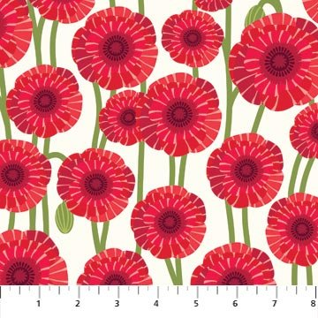 Poppy Love - Large Poppies on White by Northcott Studio for Northcott