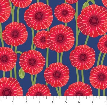Poppy Love - Large Poppies on Dark Blue by Northcott Studio for Northcott