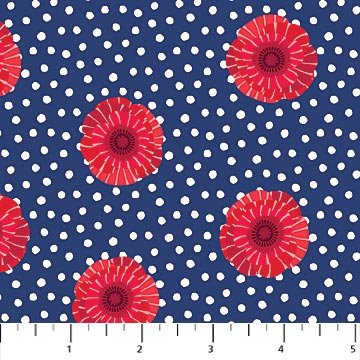 Poppy Love - Poppies on Blue with Polka Dots by Northcott Studio