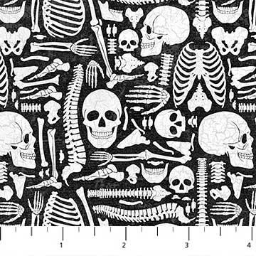 Elegantly Frightful - Bones on Black by Northcott Studio for Northcott