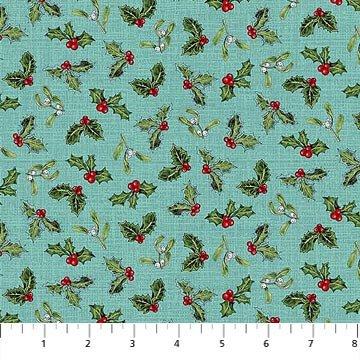Spruce Mountain - Holly & Mistletoe on Aqua by Deborah Edwards for Northcott