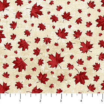 Canadian Classics - Multi Sized Maple Leaves on Cream by Deborah Edwards for Northcott