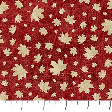 Canadian Classics - Multi Sized Maple Leaves on Red by Deborah Edwards for Northcott