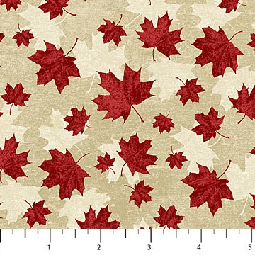 Canadian Classics - Large Maple Leaves on Tan by Deborah Edwards for Northcott