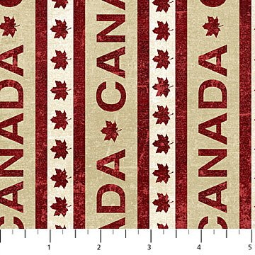 Canadian Classics - Canada Stripe in Tan by Deborah Edwards for Northcott