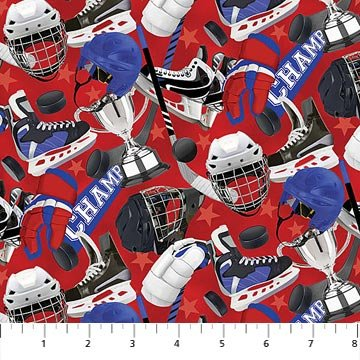 All Star Hockey - Equipment on Red by Vincent Zhang for Northcott