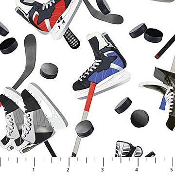 All Star Hockey - Skates on White by Vincent Zhang for Northcott