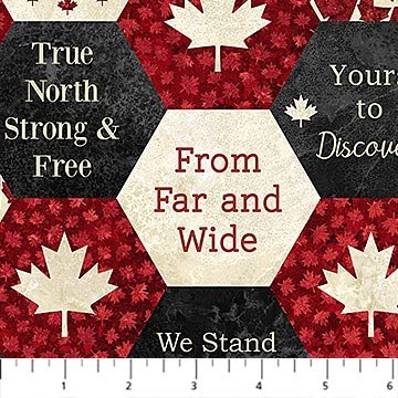 Oh Canada 7 - Hexagons with Words in Red by Deborah Edwards for Northcott