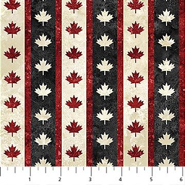 Oh Canada 7 - Stripe with Maple Leaves in Black by Deborah Edwards for Northcott