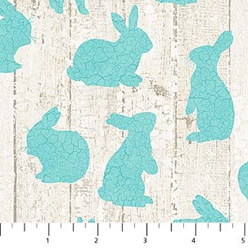 Bunny Love - Bunnies in Teal on Barnboard by Louise De Masi for Northcott