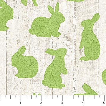 Bunny Love - Bunnies in Green on Barnboard by Louise De Masi for Northcott