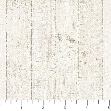 Bunny Love - Distressed Barn Board in White by Louise De Masi for Northcott