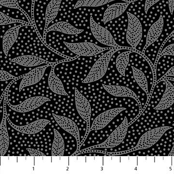Dolce Vita - Leaves on Black by Deborah Edwards for Northcott