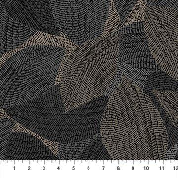 Dolce Vita - Overlapping Leaves on Black by Deborah Edwards for Northcott