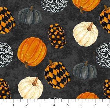 Raven's Claw - Tossed Pumpkins on Black by Andrea Tachiera for Northcott