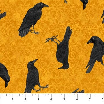 Raven's Claw - Ravens on Orange by Andrea Tachiera for Northcott