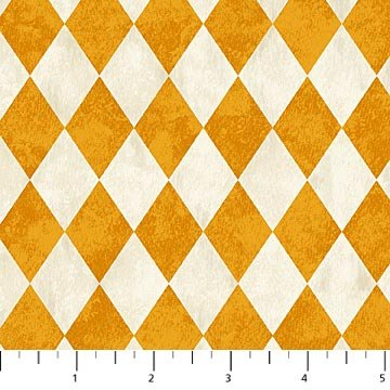 Raven's Claw - Argyle in Orange and Cream by Andrea Tachiera for Northcott