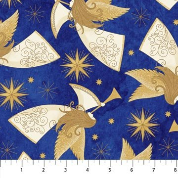 Angels Above - Angels on Royal with Metallic by Deborah Edwards for Northcott