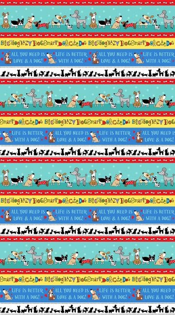 Doodle Dogs - Border Stripe in Multi by Robin Roderick for Northcott