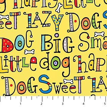 Doodle Dogs - Dog Sayings in Multi on Yellow by Robin Roderick for Northcott