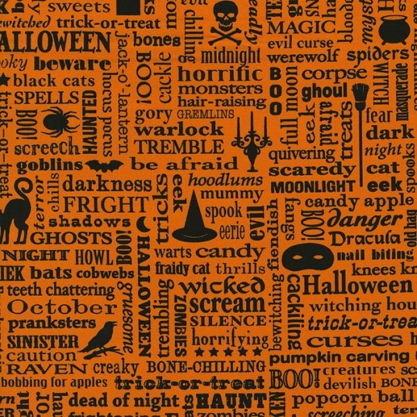Beggar's Bounty - Spooky Words in Black on Orange by Patrick Lose for RJR Fabrics