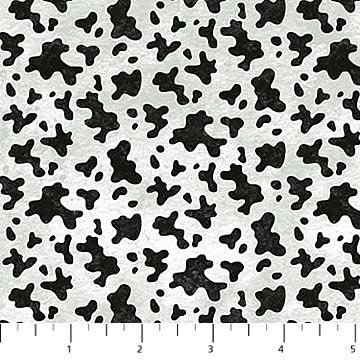 Country Paradise - Cow Print in Black and White by Tom Wood for Northcott