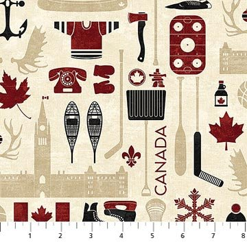 Canadian Classics 2 - Items in Cream Multi by Deborah Edwards for Northcott