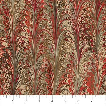 The Art of Marbling - Marble 3 in Scarlet Feather by Heather Fletcher for Northcott