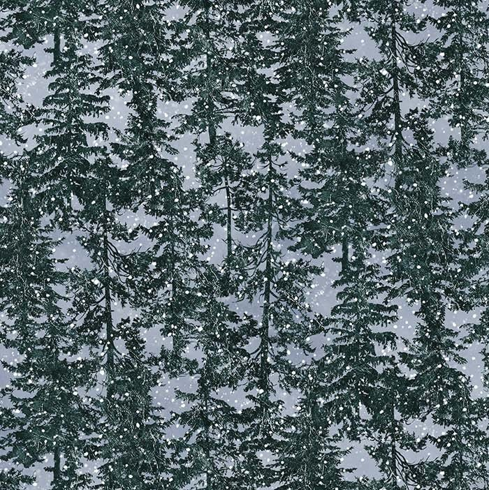 Naturescapes Silver Moon - Trees in Blue Multi by James Meger for Northcott