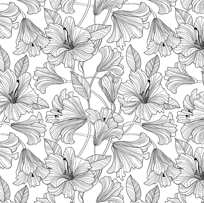 Simply Neutral 2 - Hibiscus Toss in Black on White by Northcott Studio for Northcott