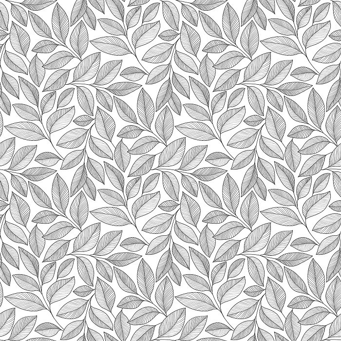 Simply Neutral 2 - Large Leaf Toss in Black on White by Northcott Studio for Northcott