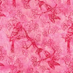 Bali Handpaints - Birds in Rose by Hoffman