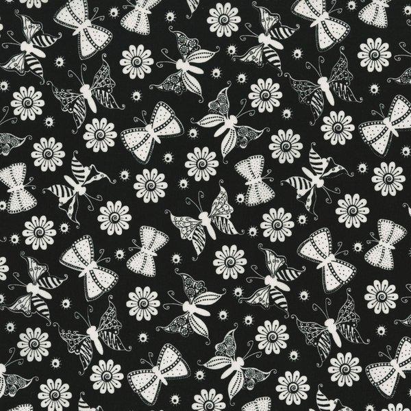 Ink Blossom II - Butterflies on Black by Sue Marsh for RJR Fabrics