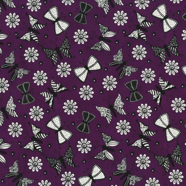 Ink Blossom II - Butterflies on Purple by Sue Marsh for RJR Fabrics