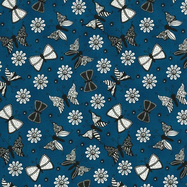 Ink Blossom II - Butterflies on Teal by Sue Marsh for RJR Fabrics