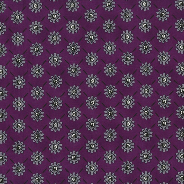 Ink Blossom II - Daisy on Purple by Sue Marsh for RJR Fabrics