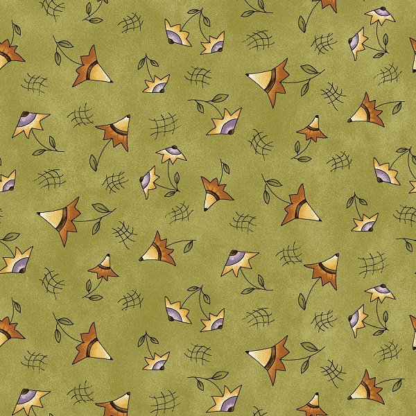 On the Web - Small Flowers on Green by Jacqueline Paton for Red Rooster