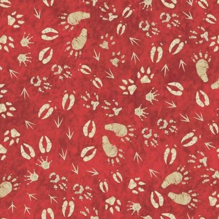Lodge Life Flannel - Footprints on Red by Jackie Decker for Red Rooster