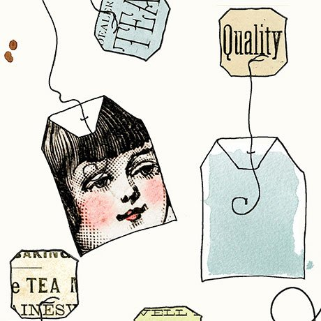 Hatters Tea Party - Tea Bags in Ecru by Janet Wecker-Frisch for Quilting Treasures