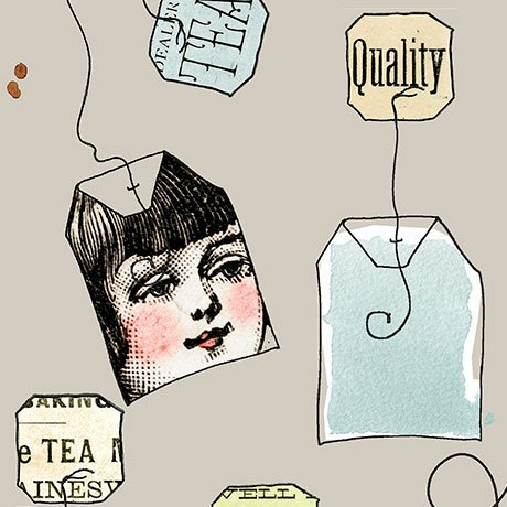 Hatters Tea Party - Tea Bags in Light Gray by Janet Wecker-Frisch for Quilting Treasures