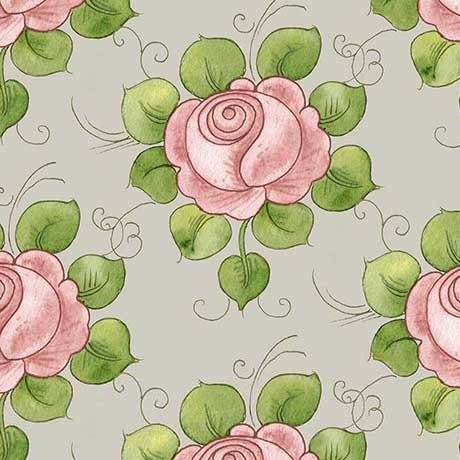Hatters Tea Party - Rose Allover in Gray by Janet Wecker-Frisch for Quilting Treasures