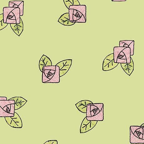 Hatters Tea Party - Pink Rose Toss on Light Green by Janet Wecker-Frisch for Quilting Treasures